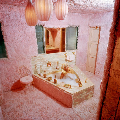 Sex Symbol Actress Jayne Mansfield Taking a Bath in the Garish Pink Shag Carpet covered bathroom