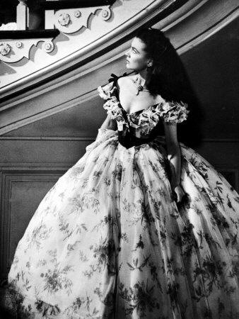 "Vivien Leigh, as Scarlet O'Hara, Waits Anxiously at Staircase in Scene from ""Gone with the Wind"""