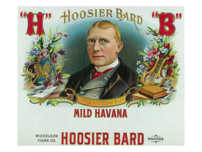 Hoosier Bard Brand Cigar Box Label, James Whitcomb Riley, American Author and Poet