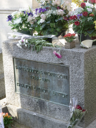 Grave of Jim Morrison, Pere-Lachaise Cemetery, Paris, France