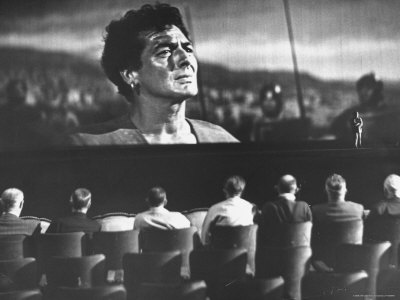 "Cinemascope Screen with Image of Actor Victor Mature as Demetrius in Calvary Scene from ""The Robe"""