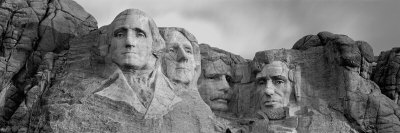 Rock Carvings in Black and White, Mount Rushmore, South Dakota, USA
