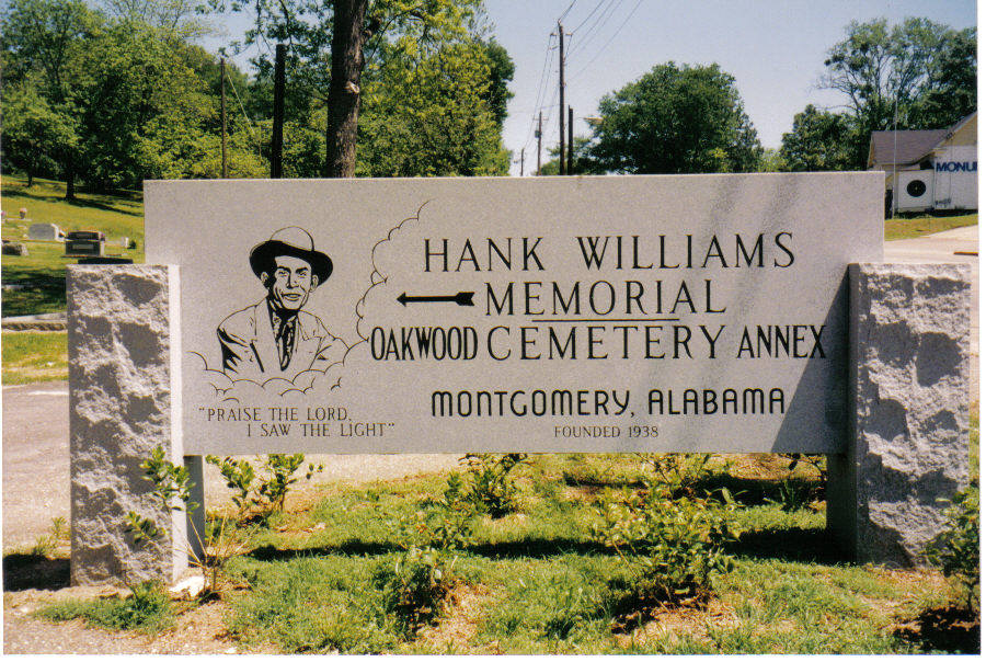 Hank Williams Memorial Cemetery sign