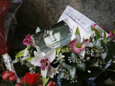 Jim Morrison's Grave at Pere Lachaise Cemetery, Paris, France, Europe