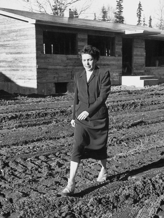Irene Ryan Walking Near One of the Houses She Is Building in New House Project
