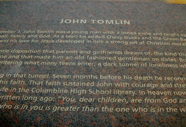 Columbine Memorial John Tomlin